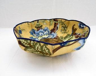 Blue and gold botanical fabric bowl sage green cornflower blue ochre yellow