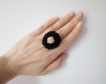 Irish Crochet Lace Jewelry (Attraction) Statement Ring, Fiber Jewelry, Crochet Ring, Pearls