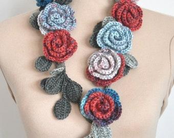 ROSA - Toffee - Crochet Multi-color Rose Lariat