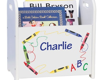 Personalized Crayon White Book Caddy Children's Book Storage Magazine Rack Room Primary Colors Red Yellow Blue Abc'S Alphabet cadd-205