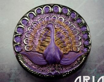 CZECH GLASS BUTTON: 38mm Ornate Peacock Handpainted Czech Glass Button, Pendant, Cabochon (1)