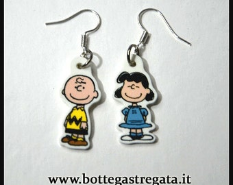 Earrings Charlie Brown and Lucy Snoopy Cartoons