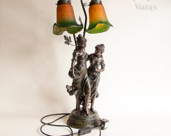 Vintage Antique Style Scantily Clad Ladies Figurine Lily Lamp & Shade in Full Working Order - PAT tested