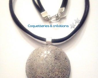 Speckled black and white colors polymer pendant necklace. Handmade in France