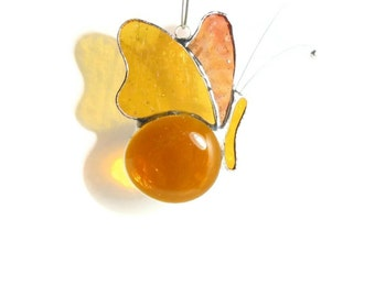 Butterfly in Amber Glass - Stained Glass Sun Catcher