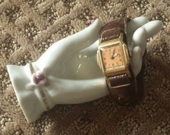 MEN'S EMCA Wrist Watch With Leather Band PEACHCOLORED Face