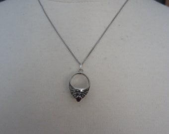 """Vintage Sterling Silver and Amber Colored Stone US Army Charm Pendant on 18"""" Professionally Oxidized Sterling Box Chain"""