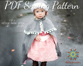 Cape Sewing Pattern, S139 Traveler Cape Digital Sewing Pattern, Sizes 12-18M to 8-10Y, Princess Anna Style Childs Cape Pattern