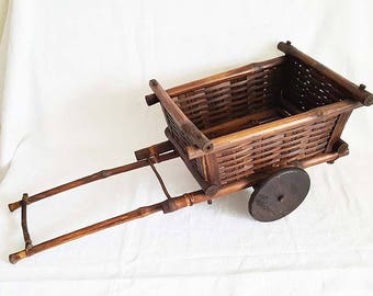 Vintage Folk Art Bomboo Wood Wagon Cart Basket