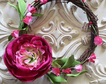 Mini Wreath with Hot Pink Peony and Flowers - Milestone Blanket Marker