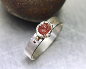Primitive Rust Colored Raw Montana Sapphire Diamond Ring Silver 18K Rose Gold Unique Rustic Reddish Brown Gemstone Band Texture - Corrosion