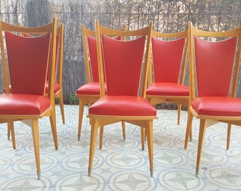 Set 6 mid-century/mid-century red chairs set