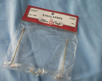 """Doll Eyeglasses 3 1/4"""" Fibre Craft 7286 for Mrs. Claus Santa Grandma Dolls and Teddy Bears Doll Crochet Craft Sewing MINT IN PACKAGE"""
