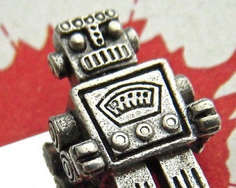 Silver Robot Tie Clip Men's Gifts Steampunk Tie Clip Men's Tie Bar Silver Tie Clip By Cosmic Firefly Hancrafted Tie Clip Father's Day Gifts