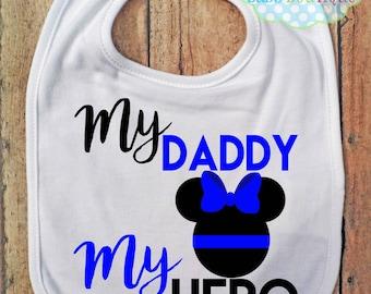 My Daddy My Hero BIB - Minnie - Police - Thin Blue Line - Policeman - Baby Bib