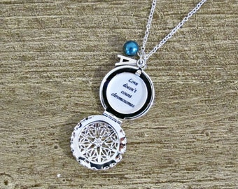 Trisomy 21 Quote Locket Necklace Down Syndrome - Love Doesn't Count Chromosomes Jewellery Jewelry - Gift For Women Awareness Inclusion Charm