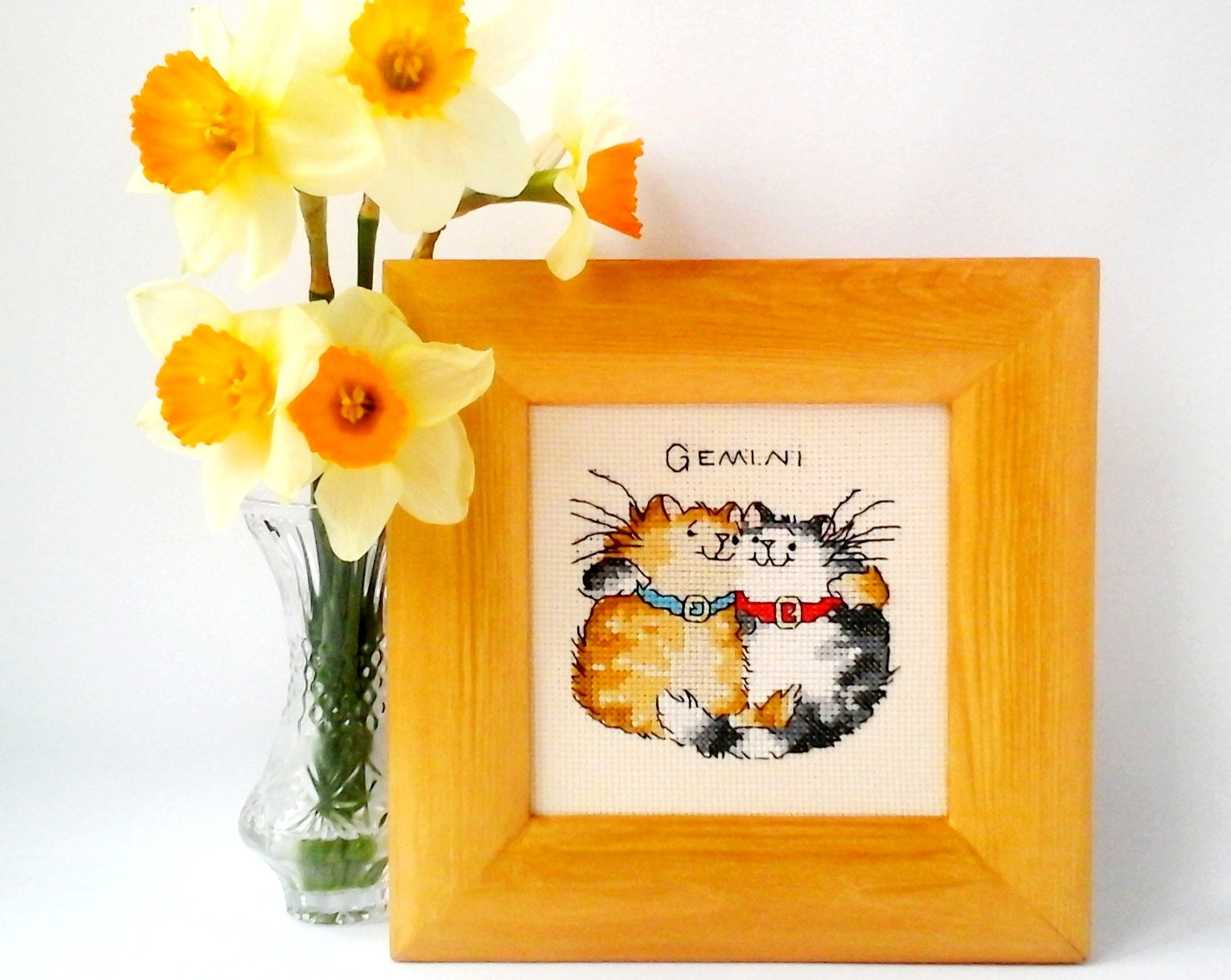 Funny Framed Finished Cross Stitch Picture Zodiac Sign Gemini