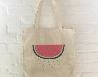 Watermelon Tote Bag, Food Bag, Market Tote, Beach Tote Bag, Screen Printed Cotton Reusable Bag