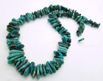 "Dark Blue Turquoise Flat Nugget Graduated Strand,  Hubei Turquoise Beads, Nugget Bead Strand, Turquoise Bead Strand, 8-17mm (1 16"" strand)"