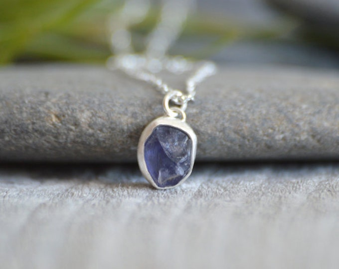 Raw Iolite Necklace In Lavender, Rough Iolite Necklace, Purple Wedding Gift, Handmade In The UK