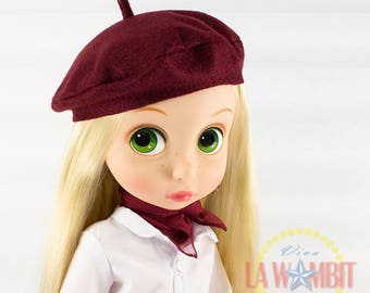 "Burgundy beret and scarf for 16"" Disney Animators Rockabilly"