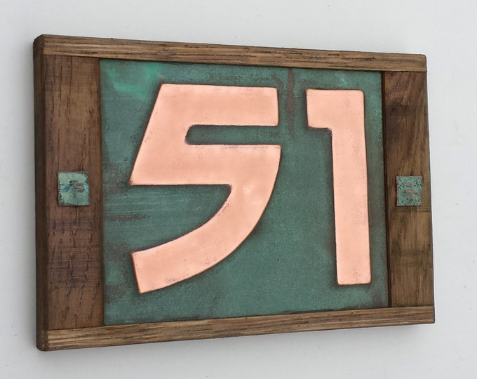 "Arts and Crafts Copper number - Oak Wood framed 3""/75mm, 4""/100mm, 2 x nos. in Bala font, polished and laquered g"