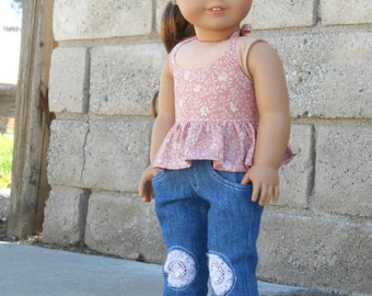 Pink & White Floral Spring/Summer Halter Top for American Girl Dolls