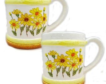 Vintage Ceramic 70s Sears and Roebuck Yellow Daisy Mug Set of 2