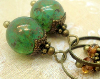 Green Dangle Earrings in the Boho Jewelry Style