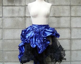 Party Skirt Crinoline Vintage 1980s Eighties Metallic Blue Petticoat Women's