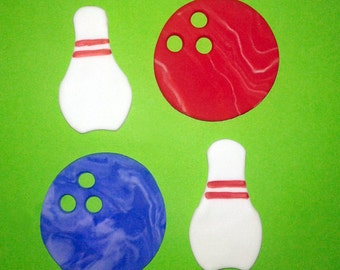 Fondant cupcake toppers Bowling Party