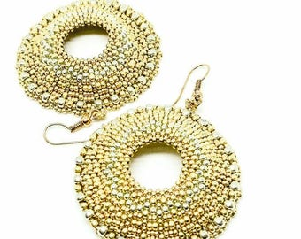 Two-tone gold and silver hoop earrings