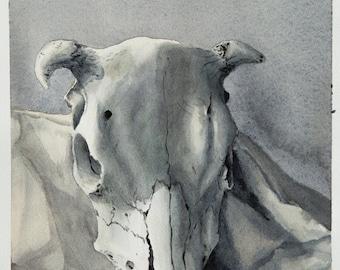 Original Cow SKULL WATERCOLOR PAINTING Wall Art Print