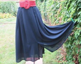 Long Skirt Vintage / Maxi / Navy / Poly / Side Pockets / Slit in Front / Slit on Back / Lining / Size EUR46 / UK18