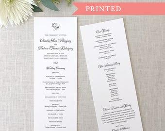 Printed Monogram Wedding Ceremony Program, Formal Wedding Programs, Traditional Programs, Panel Style Wedding Programs