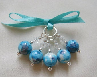 Turquoise Rainflower Stitch Markers for Knitting or Crochet