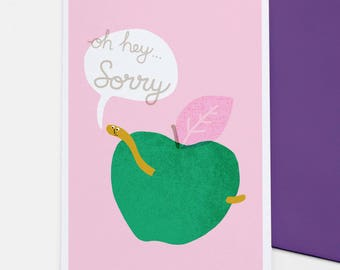 Sorry Worm - I'm sorry card, illustrated apology card, I'm sorry gift, girlfriend card, boyfriend card, best friend card, sympathy card