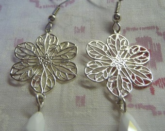SIlver Plated Flower Simple Drop with White Crystal Teardrop Earrings