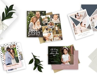 Christmas / Holiday Card Bundle Pack 1, Photoshop Template for photographers - INSTANT DOWNLOAD