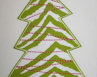 035 Tinsel Christmas Tree Machine Embroidery Applique Design
