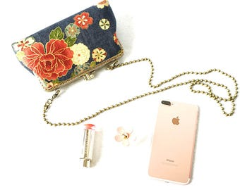 Japanese Floral Two Compartment Medium Frame Clutch