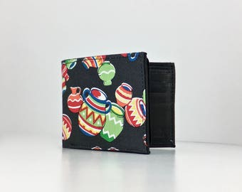 Cantaritos Native American pottery black print handcrafted billfold wallet