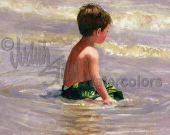 "Beach Boy in Green Swim Bathing Suit in Ocean Waves Seashore Ocean Bay Children Watercolor Painting Print, Wall Art, Home Decor, ""Bay Watch"""