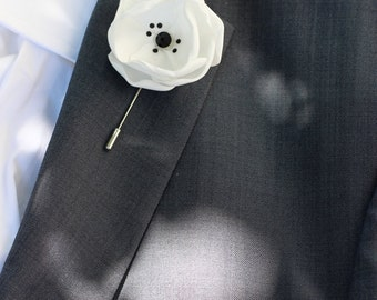 White satin flower with Swarovski crystals, mens boutonniere, lapel pin, groomsmen white boutonniere, mens lapel flower,