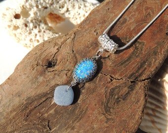 Periwinkle Blue Synthetic Fire Opal and Denim Blue Sea Glass Drop Necklace,Authentic Sea Glass