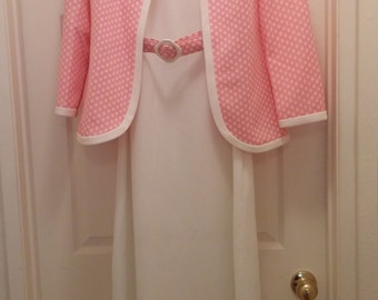 Vintage 1970's Vicky Vaughn Women's Long White Maxi Dress With Pink and White Polka Dot Jacket Size Large
