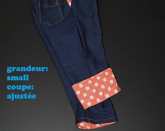 Scalable jeans, size small slim orange with beige polka dots