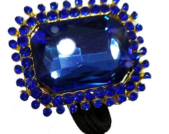 New Blue Crystal Sapphire 1  1/2 '' Ponytail Tie