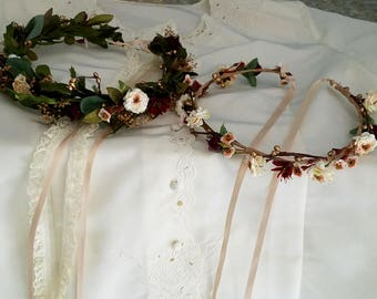 Burgundy leafy flower crown set of 2 greenery hair wreaths Bride and little girl halo gold blush fall wedding accessories prop