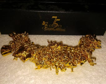 """Rare Disney 75 years of """"Love and Laughter"""" Charms Bracelet #88/1923 COA"""